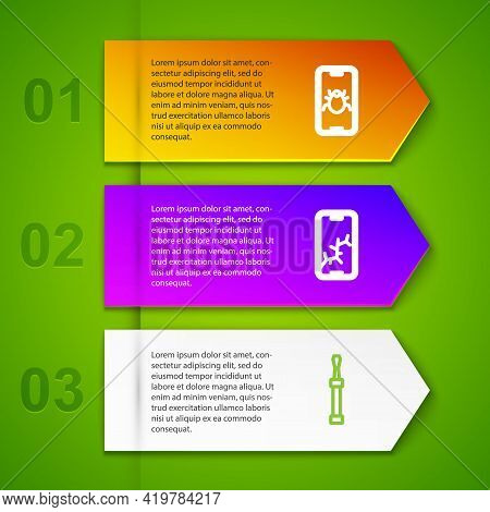 Set Line System Bug On Mobile, Mobile With Broken Screen And Screwdriver. Business Infographic Templ