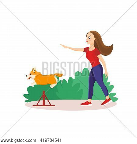 Vector Illustration In Cartoon Style Isolated On White Background. Girl Training Her Pet In The Park
