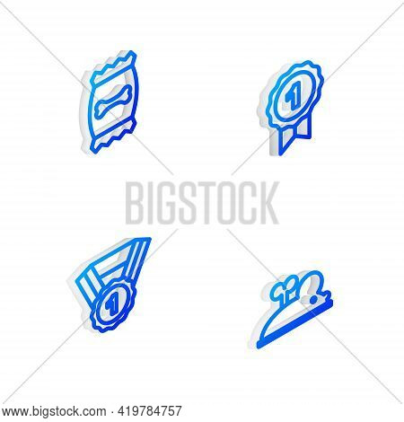 Set Isometric Line Dog Award Symbol, Bag Of Food For Pet, And Clockwork Mouse Icon. Vector