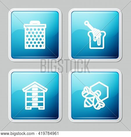 Set Line Honeycomb, Dipper Stick With Honey, Hive For Bees And Bee And Honeycomb Icon. Vector