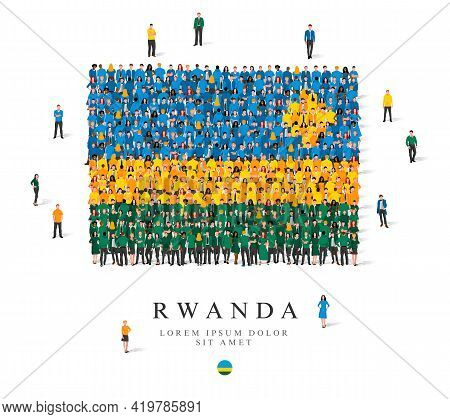 A Large Group Of People Are Standing In Green, Blue And Yellow Robes, Symbolizing The Flag Of Rwanda