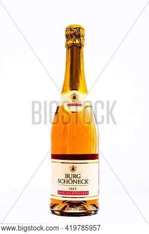 Bottle Of Burg Schonneck Sparkling Wine, Prosecco Wine Isolated On White. Illustrative Editorial Pho