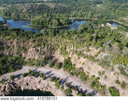 Winding Bed Of The Southern Bug River. River, Landscape From A Bird's Eye View. Rough, Rocky Terrain