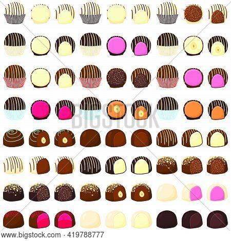 Illustration On Theme Beautiful Big Set Sweet Chocolate Candy Bonbon. Candy Bonbon Consisting Of Bla