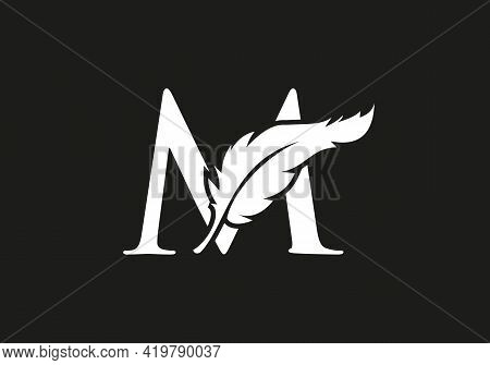 Feather Logo Design  With M Letter Vector. Law Logo With Feather And M Letter