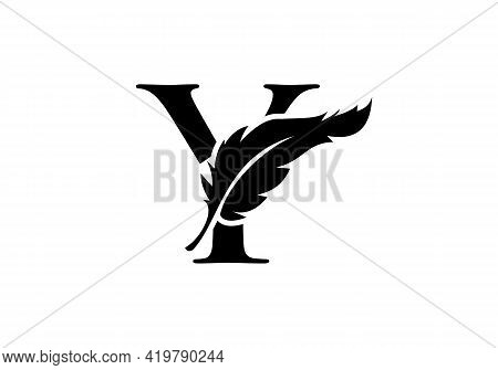 Feather Logo Design  With Y Letter Vector. Law Logo With Feather And Y Letter