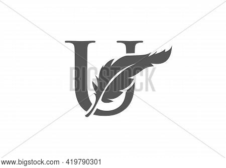 Feather Logo Design  With U Letter Vector. Law Logo With Feather And U Letter