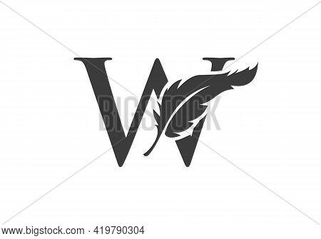 Feather Logo Design  With W Letter Vector. Law Logo With Feather And W Letter