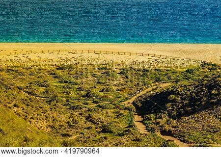 Coastal Landscape, Walking Area Path Along Sandy Beach, Cabo De Gata Nijar Natural Park In Spain