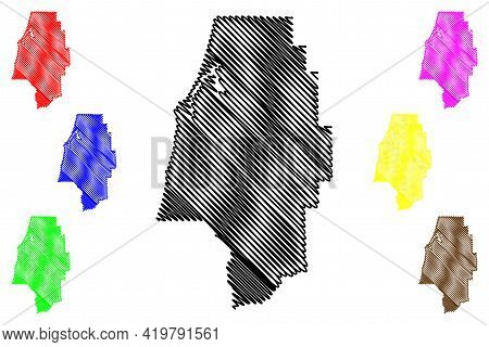 Coos County, Oregon State (u.s. County, United States Of America, Usa, U.s., Us) Map Vector Illustra
