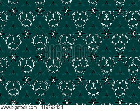 Teal Turquoise Ajrak Block Print Abstract Geometric Block Pattern For Textile Design Background Wall