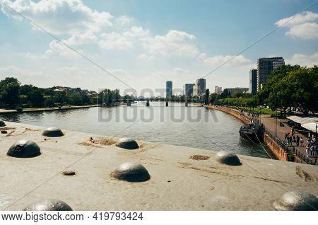 Frankfurt, Germany - August 22,2015 : View Of The River Main In Frankfurt, Germany