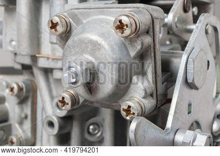 Close Up Of Details Of Car Carburetor, Small Depth Of Focus. Automotive Parts.
