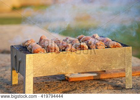Grilling Shashlik On Barbecue Grill. Close Up Pf Delicious Chicken Breast On Wooden Skewfried On Man