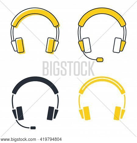 Earphones In Glyph, Icons Set. Headset In Silhouette. Headphones With Microphone, Can Be Used For Li