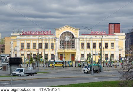 Moscow, Russia - April 28, 2021: Savelovsky Railway Station. Savelovsky Railway Station Square On A