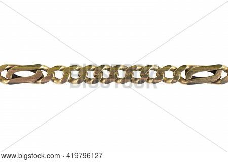 Golden Chain Isolated On The White Background With Clipping Path. Old Gold Chain Isolated Over White
