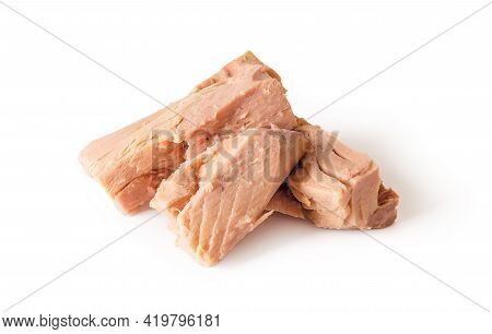 Canned Tuna Fillet Pieces Isolated On White Background. Preserved Seafood As Ingredient For Low Calo