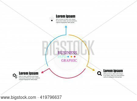 Infographics Vector Illustration Circular Template 3 Steps. Thin Line Elements Infographic Design Wi