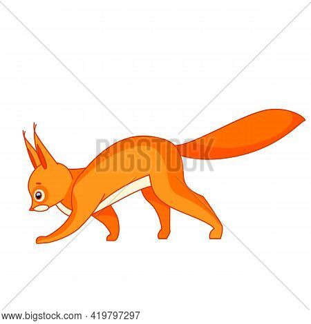 Cute Red Squirrel Walking. Cartoon Character Of A Small Mammal Animal. A Wild Forest Creature With R