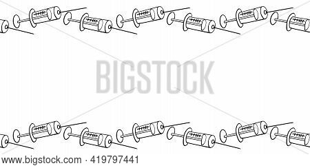Vector Frame, Border Made Of Contoured Syringes. Horizontal Top And Bottom Edging, Decoration, Backg