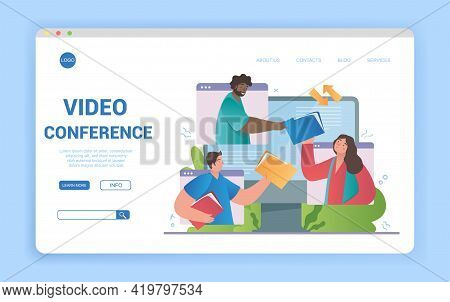 Illustrated Video Conference Theme And Diverse Multiracial Team Of Students In Online Call. Flat Car