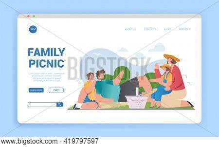 Happy Loving Family Of Mother, Father, Daughter, Son On Picnic Outdoors In Park, Daughter Sitting On