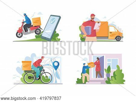 Fast Delivery By Scooter, Bike, Minivan Or On Foot. E-commerce Concept. Online Food Order Infographi
