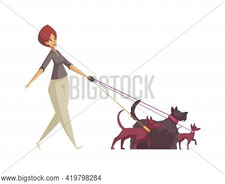 Woman Pet Sitter Walking Three Dogs On Leash Cartoon Icon Vector Illustration