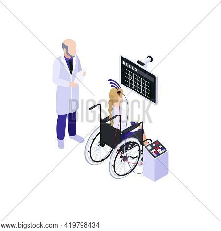 Girl With Brain Implant And Connected To Head Electrodes Undergoing Medical Test Isometric Vector Il