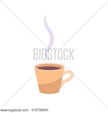 Colds Symptoms Composition With Flat Isolated Image Of Smoky Cup With Black Tea Vector Illustration