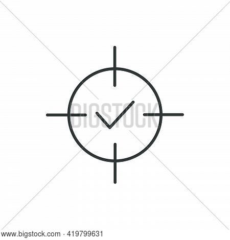 Crosshair With Check Mark Line Icon. Goal Reached Symbol. Target Review Outline Concept. Confirmed P