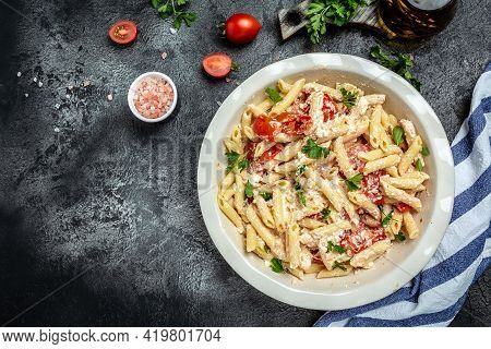 Baked Feta Pasta With Cherry Tomatoes, Olive Oil And Herbs In A Pan. Trend Mixing Macaroni And Chees