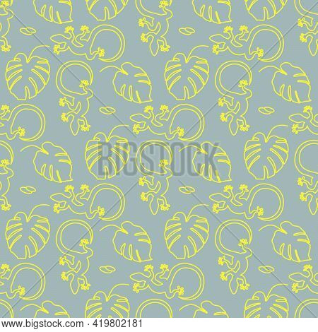 Vector Tropical Seamless Pattern Illustration Monstera Leaves, Lizard. Tropical Plants Jungle Wildli