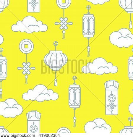 Lanterns,  Money Envelopes , Coin For Good Luck, Clouds. Festive Traditions Of Different Countries.