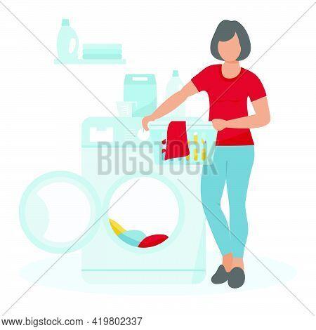 Vector Illustration Woman Washing Dirty Clothes Washing Machine, Laundry Basket, Laundry Detergents