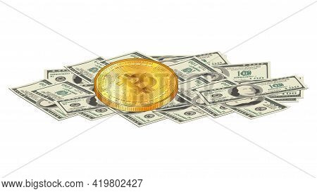 Detailed Gold Bitcoin Coin Lies On A Pile Of Paper 100 Us Dollars Banknotes Isolated On White. Digit