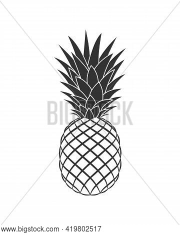 Pineapple Graphic Icon. Tropical Fruit Symbol. Pineapple Sign Isolated On White Background. Vector I