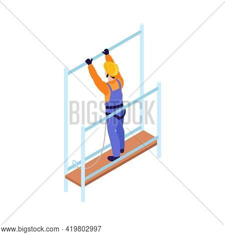 Isometric Icon Of Ironworker With Safety Harness Working At Height 3d Vector Illustration