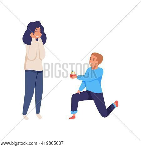 Man Proposing To Woman Giving Her Ring Flat Isolated Vector Illustration