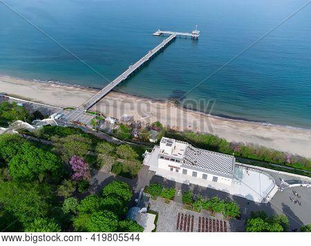 Aerial View Of The Sea Casino Cultural Center And Burgas Bridge. Beautiful Aerial Seascape Of Burgas