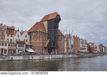 Medieval Historic Harbor Crane Zuraw In Gdansk Poland