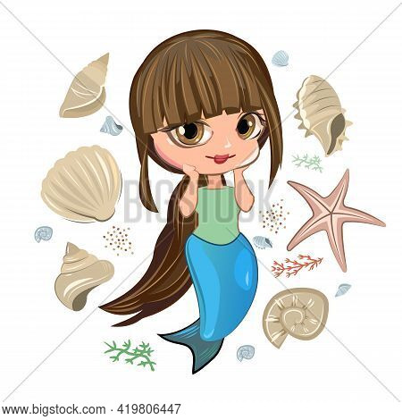 Little Mermaid Girl. Flirts. Handsome Fashionable Child. The Isolated Object On A White Background.