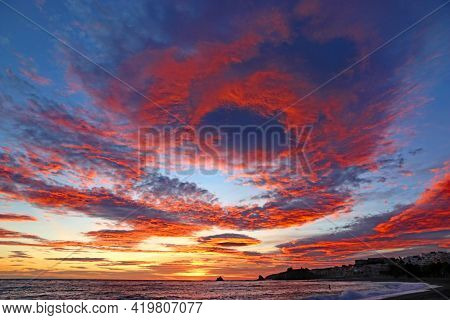 Costa Tropical Sunset At Almunecar In Andalucia, Spain