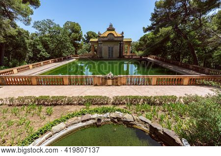 Barcelona - Spain. June 26, 2019: Emerald Water Pond In The Famous Park Of The Labyrinth Of Horta (p
