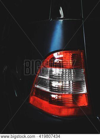 Car In The Shade. Car Headlights. Luxury Headlights. Car Details. Part Of A Blue Car