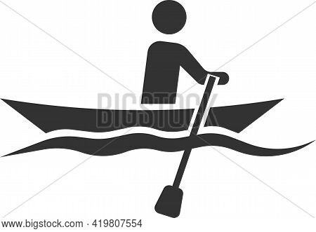 Icon Of A Floating Man In A Boat With Oars.