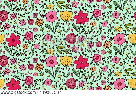 Seamless Pattern With Big Set Of Various Hand Drawn Simple Floral Doodles - Flower, Herb, Branch, He