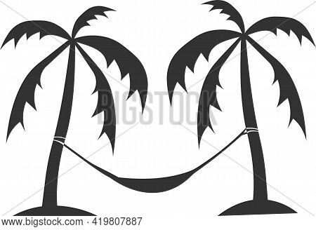 A Hammock Icon With Two Palm Trees. Vector Image.
