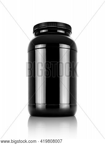 Blank Packaging Black Whey Protein Product Bottle Isolated On White Background With Clipping Path
